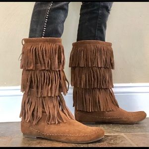 LC Lauren Conrad Layered Fringed Moccasin Boots